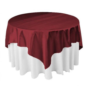 "Burgundy Square Overlay Tablecloth 60"" x 60"""