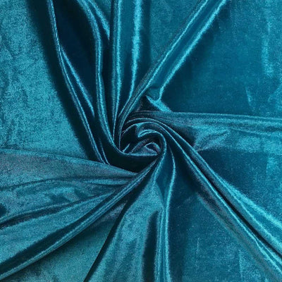 Teal Velvet Stretch Fabric