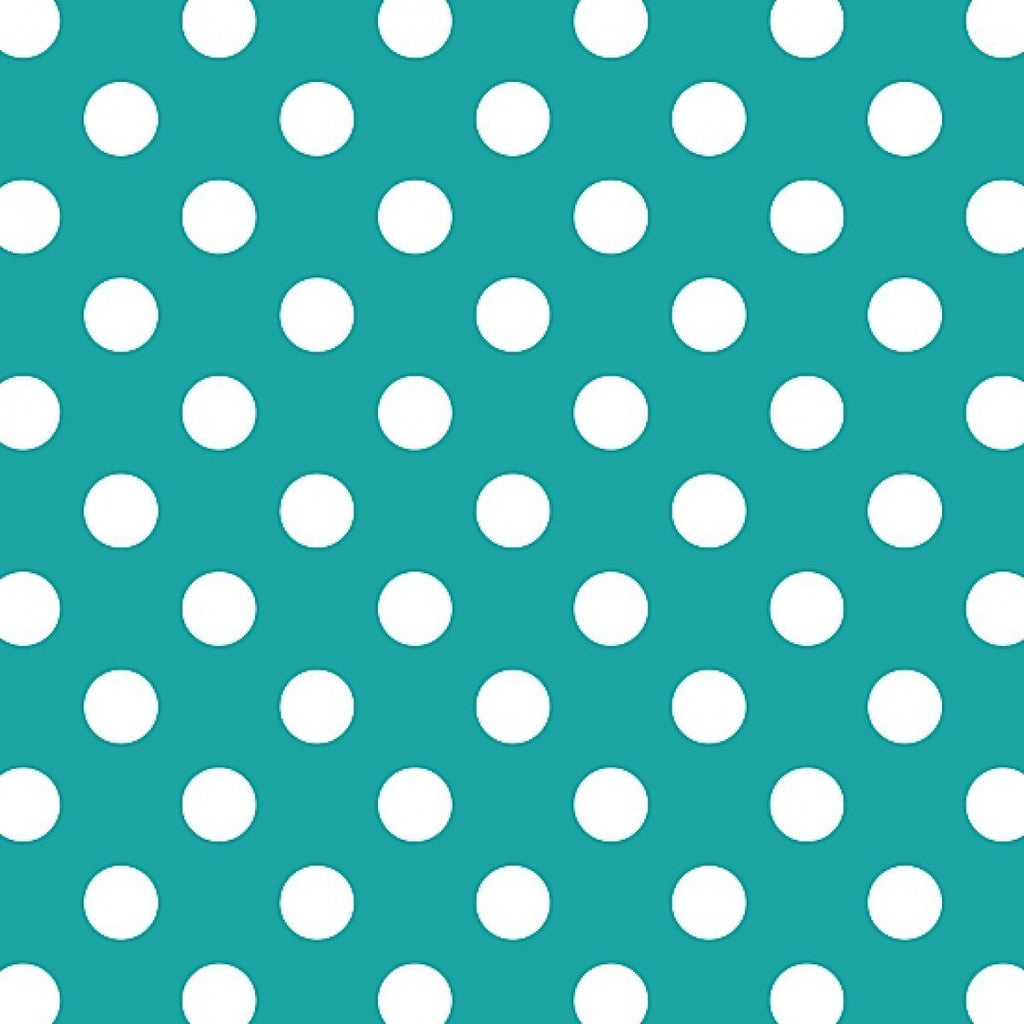 "1"" One Inch White Dots on Turquoise Poly Cotton Fabric"