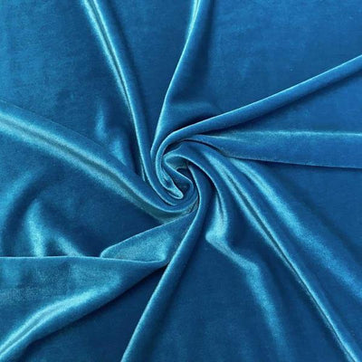 Turquoise Stretch Velvet Fabric / 60 Yards Roll