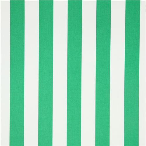 "1"" One Inch Green and White Stripes Poly Cotton Fabric"