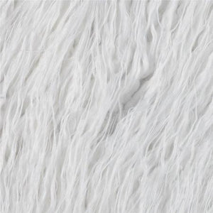 White Faux Fake Mongolian Animal Fur Fabric Long Pile