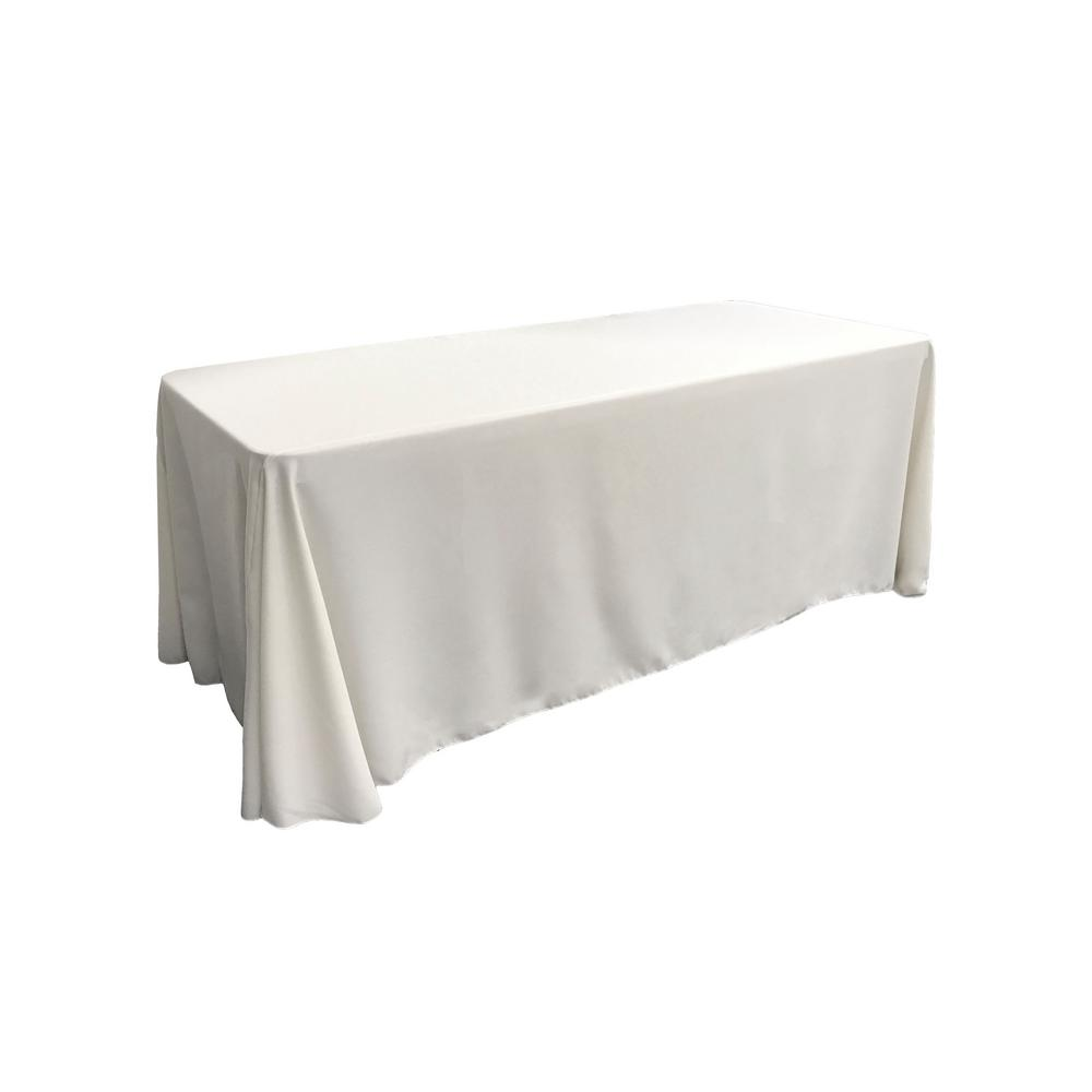 "White 100% Polyester Rectangular Tablecloth 90"" x 132"""