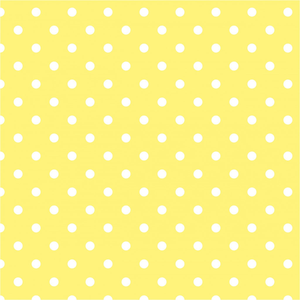"1/4"" inches White on Yellow Dots Poly Cotton Fabric"