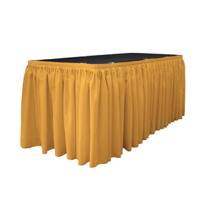 14 Ft. x 29 in. Gold Accordion Pleat Polyester Table Skirt