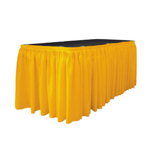 14 Ft. x 29 in. Dark Yellow Accordion Pleat Polyester Table Skirt