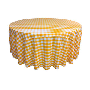 Dark Yellow Polyester Checkered Round 108""