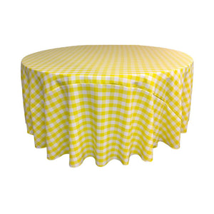Light Yellow Polyester Checkered Round 108""
