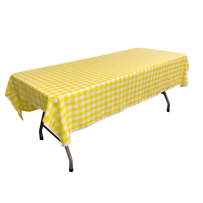 White Light Yellow Gingham Checkered Polyester Rectangular Tablecloth 90