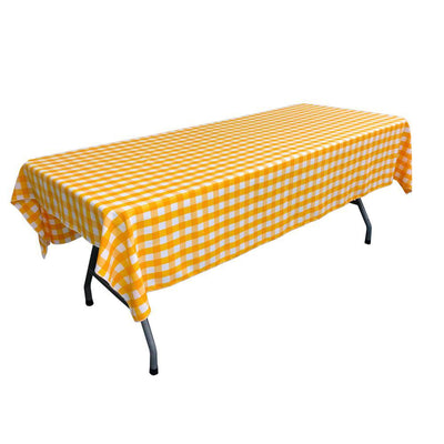 White Dark Yellow Gingham Checkered Polyester Rectangular Tablecloth 90