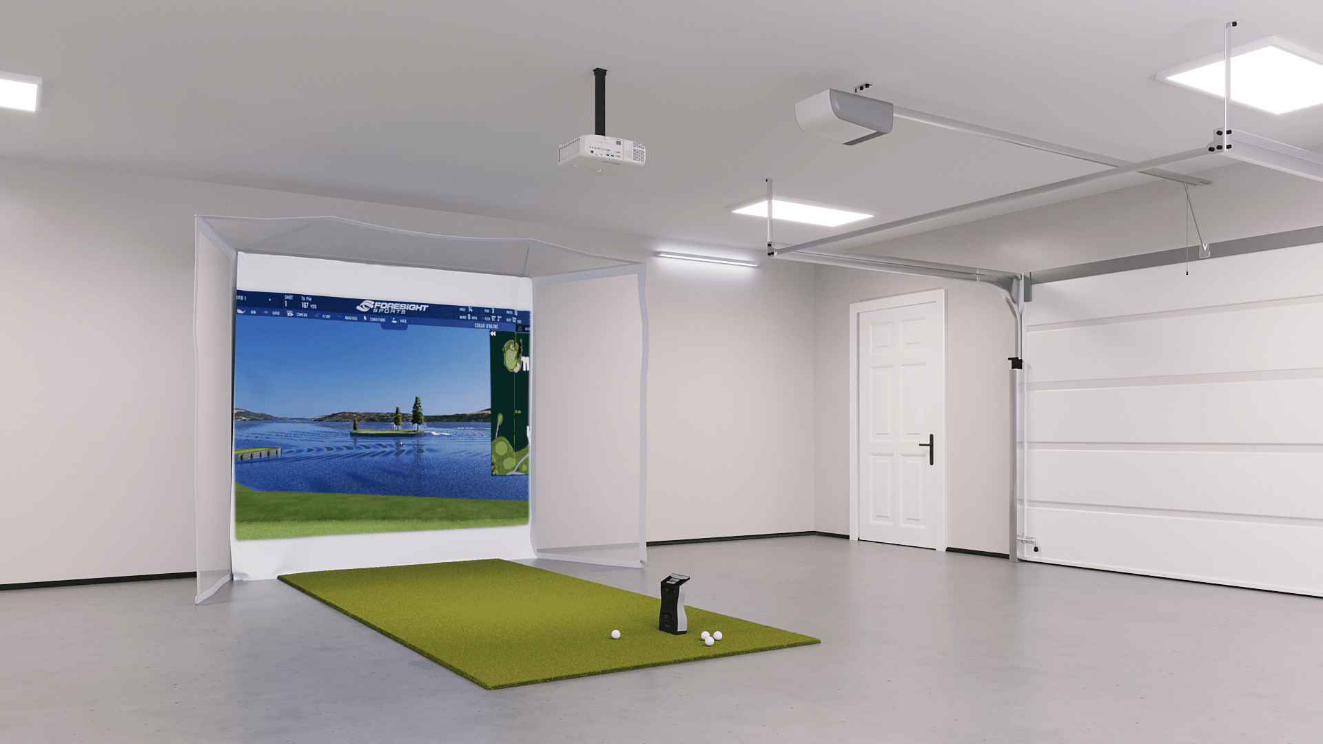 GCQuad Flex Space With HomeCourse Retractable Screen and Net 45°