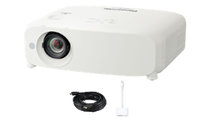 Panasonic PT-VZ580U Projector with HDMI and Lightning Apple Adapter