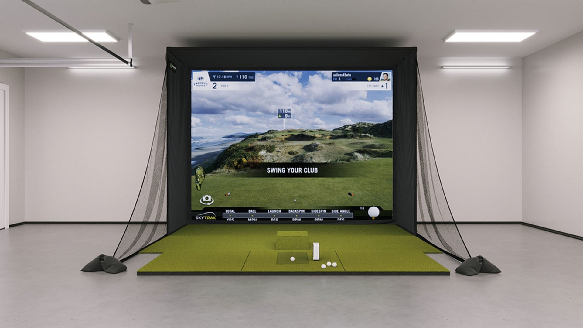 SkyTrak SIG12 Golf Simulator in a Garage Setting