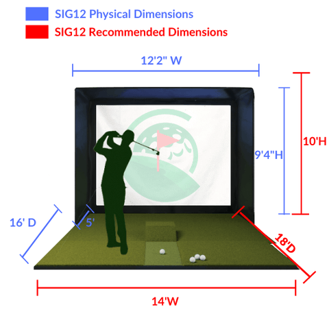 gc2 sig12 golf simulator dimensions and space required