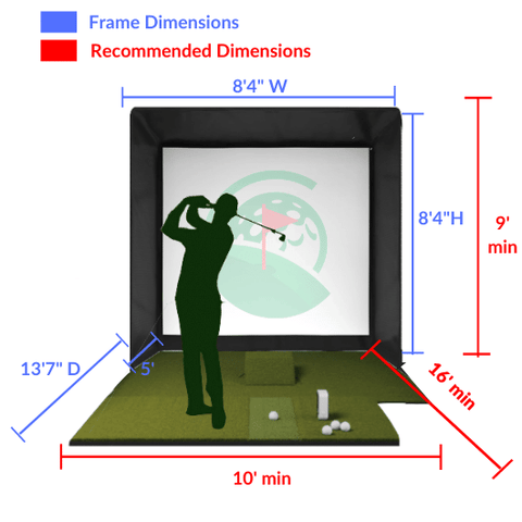 SIG8 Golf Simulator Enclosure Space Requirements with Dimensions