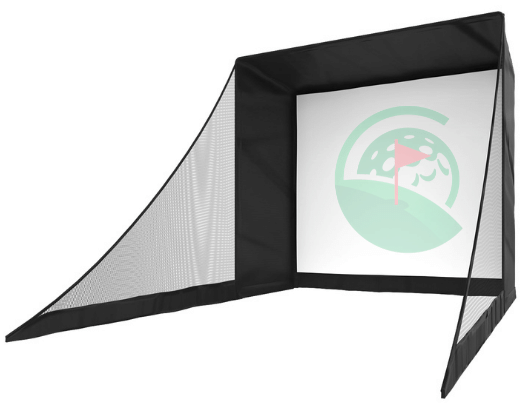 SIG8 Golf Simulator Enclosure with Side Barrier Netting Side View