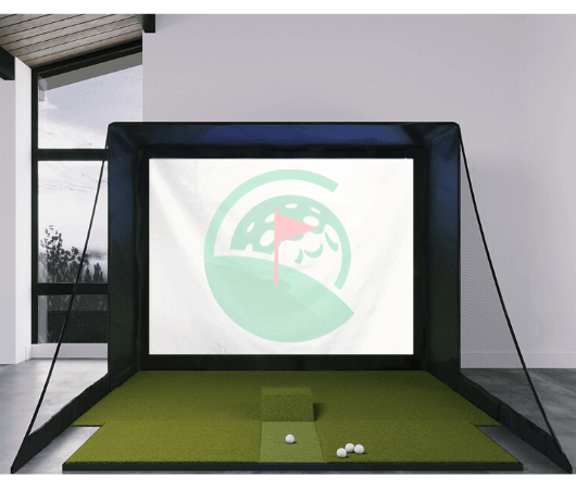 SIG10 Golf Simulator Studio Package with Fiberbuilt 4' x 9' Mat