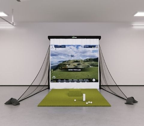 SkyTrak Bronze Golf Simulator in a garage