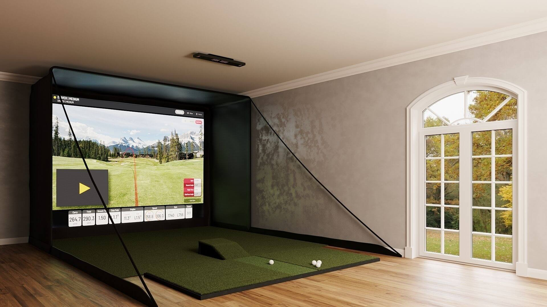 side view of the SIG12 EYE XO Golf simulator package with screen, landing pad, and hitting mat
