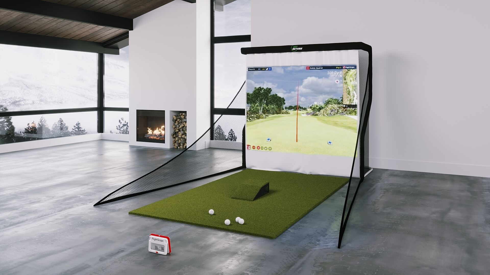 flightscope mevo plus bronze golf simulator package from shop indoor golf