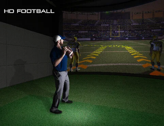 throwing a football on hd golf simulator