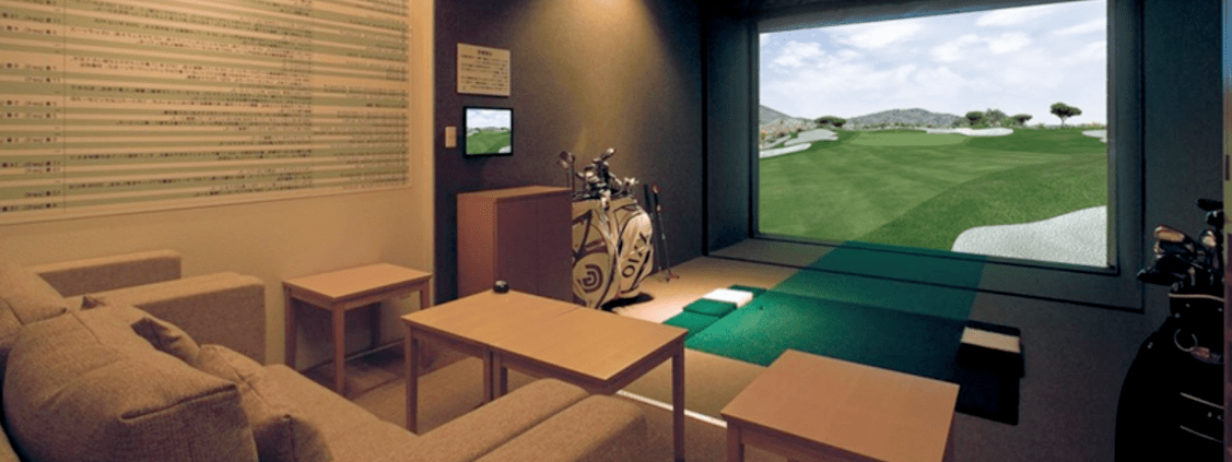 home golf simulator and other golf equipment shown in the comfort of your home