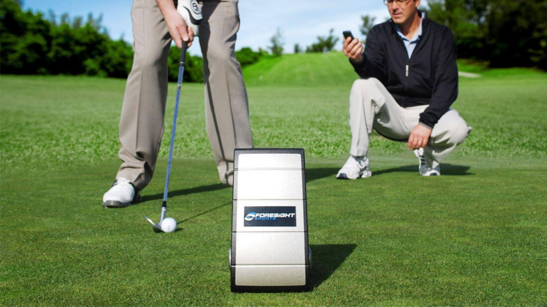 gc2 launch monitor being used on the golf driving range