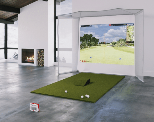 homecourse retractable screen with flightscope mevo plus