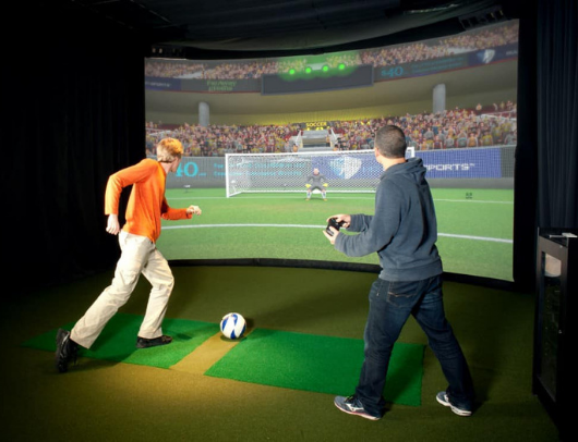 playing soccer on hd multi sport simulator
