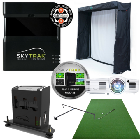 skytrak gold entertainment golf simulator package