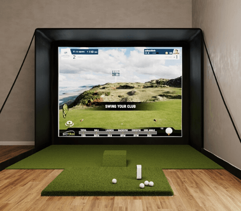 skytrak sig12 golf simulator with 5x5 golf mat front view