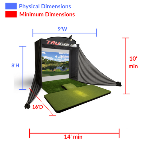 trugolf vista 8 space requirements and dimensions