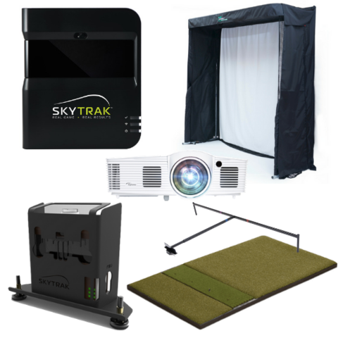 skytrak gold training golf simulator package