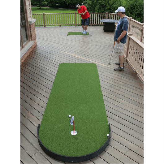 chipping on the Big Moss Indoor and Outdoor Putting Green