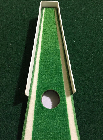 the end of the focus point indoor training green which shows the cup as the green narrows
