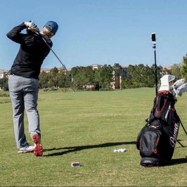 flightscope mevo launch monitor on the driving range