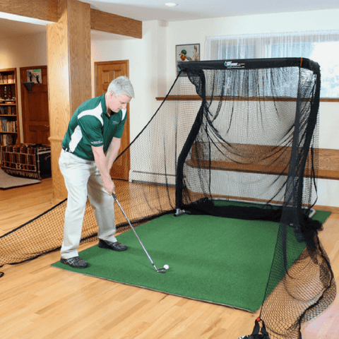 the net return mini pro series net with golf mat and side barriers