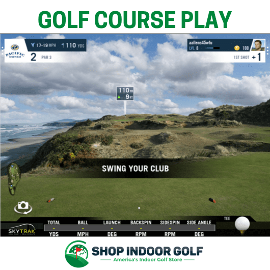 golf course play on skytrak training package