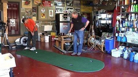 the big moss augusta v2 putting green shown in the garage