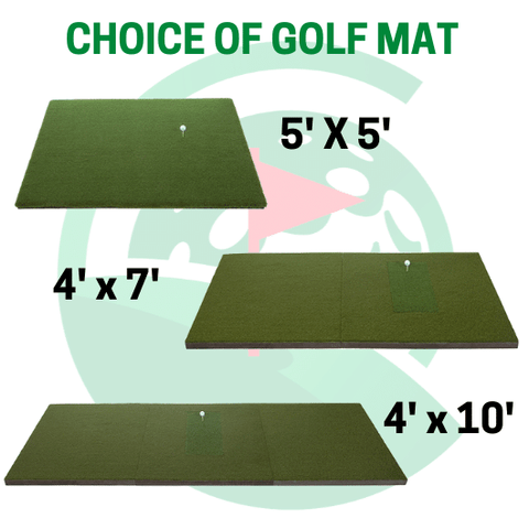 three golf mats available for choosing: a 5x5 fairway series mat, a 4x7 sigpro golf mat, or a 4x10 sigpro double sided golf mat which is ideal for both lefties and righties