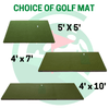Image of three golf mats available for choosing: a 5x5 fairway series mat, a 4x7 sigpro golf mat, or a 4x10 sigpro double sided golf mat which is ideal for both lefties and righties