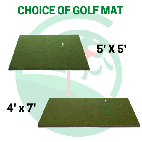 the 5x5 fairway series golf mat and the 4x7 golf mat from shop indoor golf