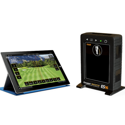 ernest sports es16 golf launch monitor and simulator shown with a tablet and course
