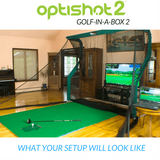 what your golf simulator set up will look like with the golf in a box 2