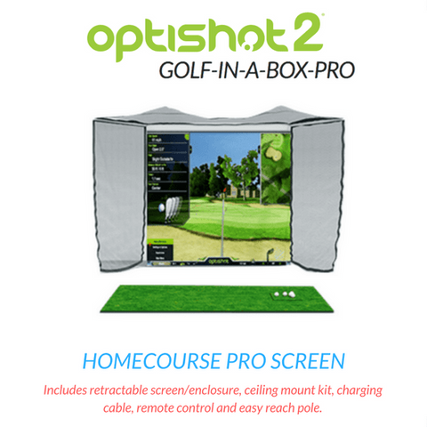 homecourse pro retractable golf screen that comes with the optishot golf simulator package
