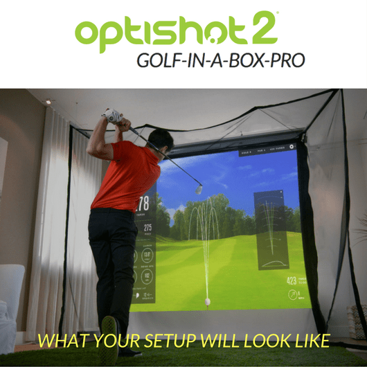 what your golf simulator set up will look like with the golf in a box pro