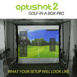 golf simulation on the simulator screen using the homecourse pro retractable screen