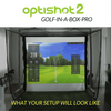 Image of golf simulation on the simulator screen using the homecourse pro retractable screen