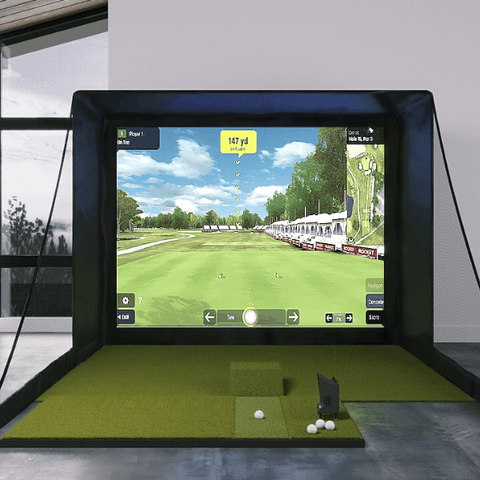 optishot ballflight sig10 simulator with fiberbuilt 4x7 golf mat