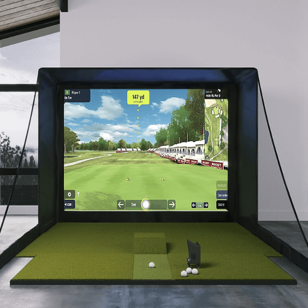 optishot ballflight sig10 simulator with fiberbuilt 4x9 golf mat